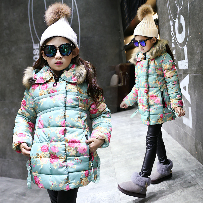 Girls clothing down Jacket for girls 2017 Winter jackets for girls floral Kids coats girls clothes children clothing Outerwear