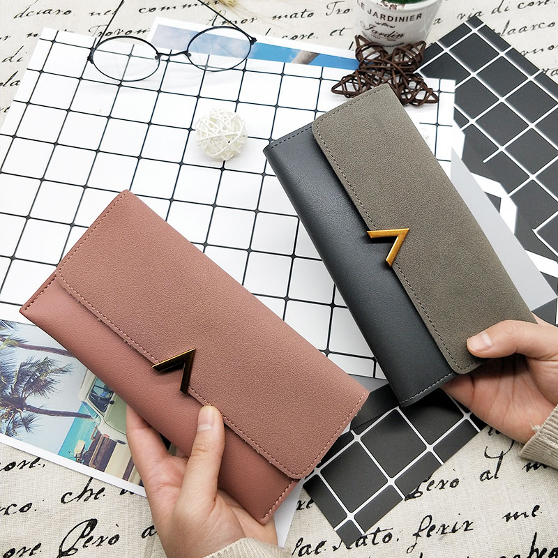 Aosbos Women Matte Leather Wallet PU Leather Long Letter Purse Solid Patchwork Purse Hasp Lady Moneybags Money Wallet Womens