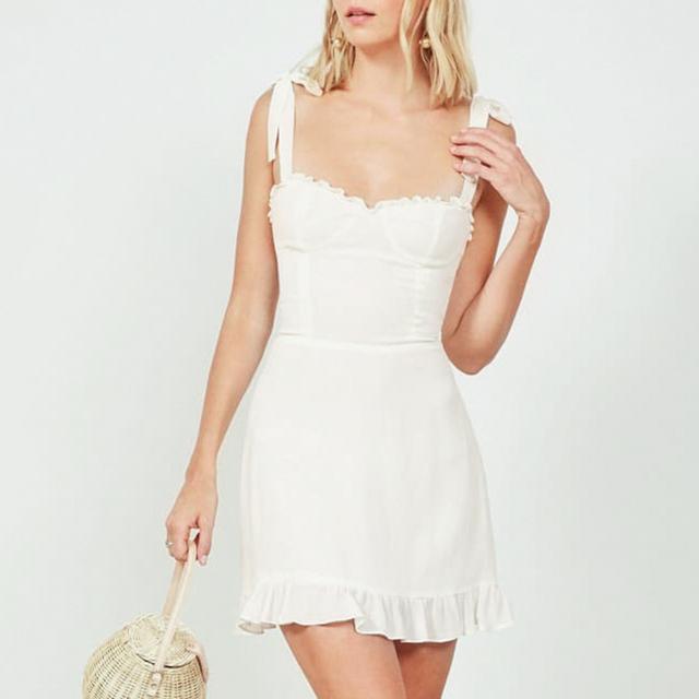 Tie sleeve white summer dress short