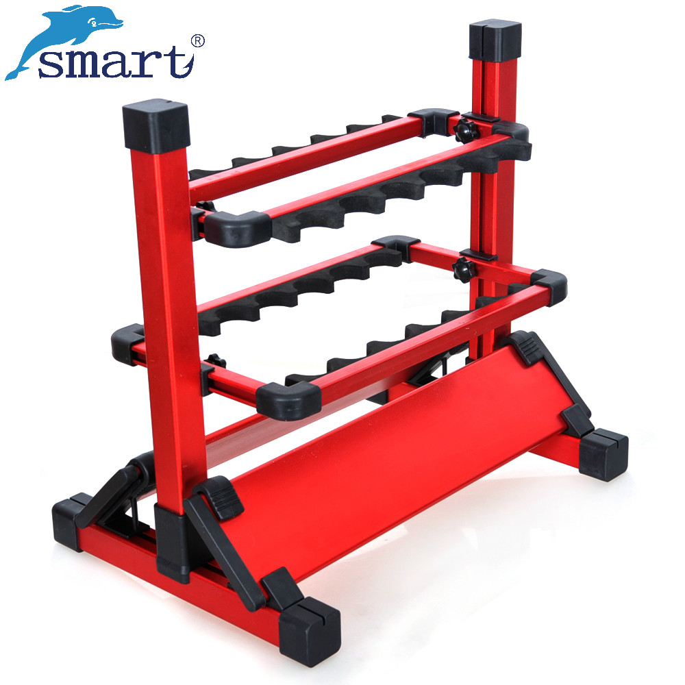 Portable Silver/Blue/Red Aluminum Alloy Fishing Rods Display Rack 12Pcs Fishing Rods Holder Fishing Accessories Pesca Acesorios