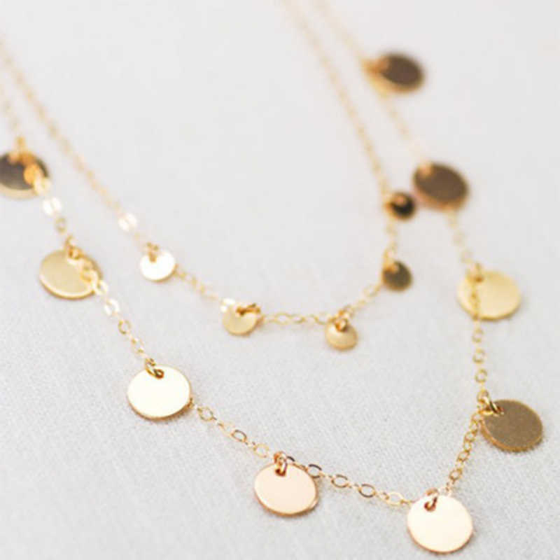Fashion Double Layer Coin Necklace Bohemia Round Sequins Choker Necklace Pendant On Neck  Chain Jewelry
