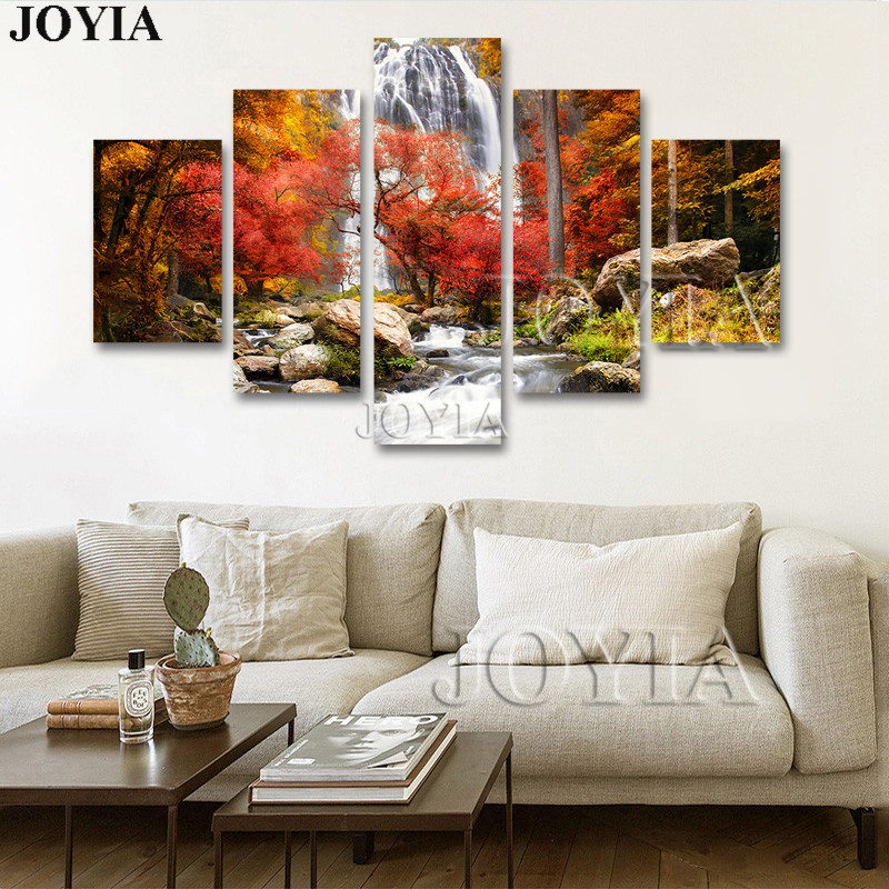 5 Piece Multi Pictures Colorful Forest Waterfall Beautiful Landscape Paintings For Living Room
