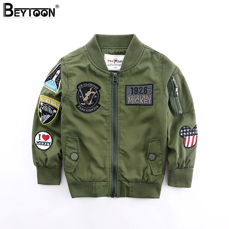 Beytoon 2Colors Toddler Boys Jacket Autumn Spring Army Style Kids Bomber Jacket For Boys Outerwear Tops
