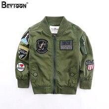 Beytoon 2 Couleurs En Bas Âge Garçons Veste Automne Printemps Armée Style Enfants Bomber Veste Pour Garçons Survêtement Tops Vêtements