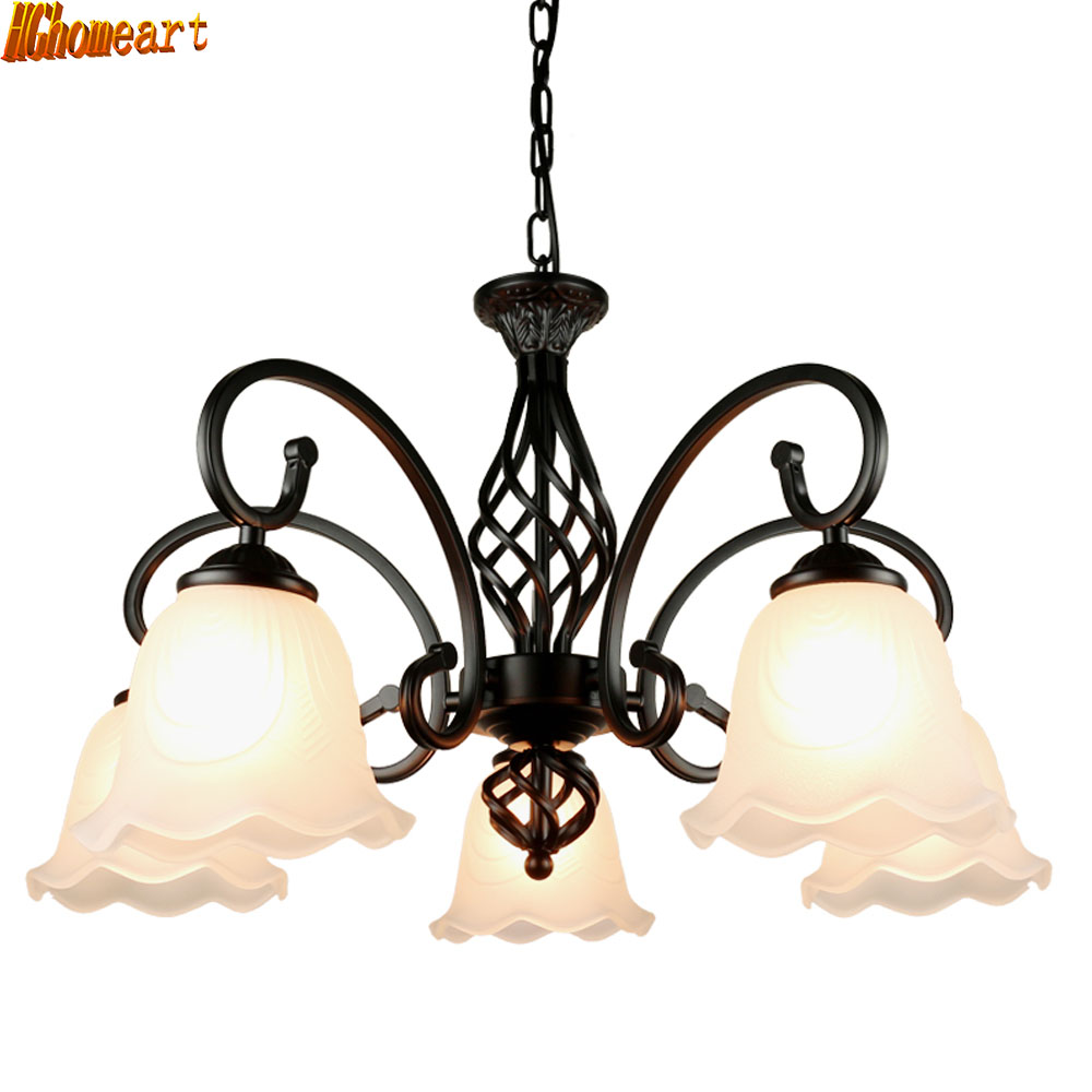 HGhomeart American Living Room LED Retro Chandelier Bedroom Restaurant Atmosphere Mediterranean Iron E27 Ceiling Lamp lamps european and american living room chandelier iron simple atmosphere of modern garden bedroom ceiling decorated with medite
