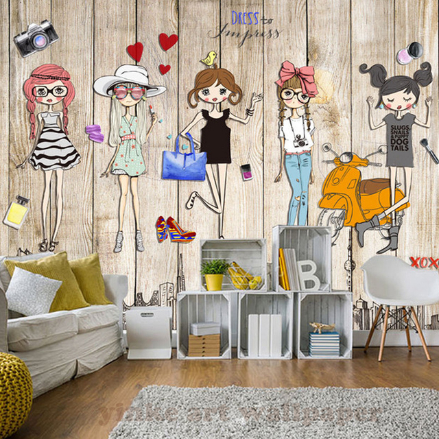 3d hand painting wall mural wallpaper wood stereoscopic fashion girl