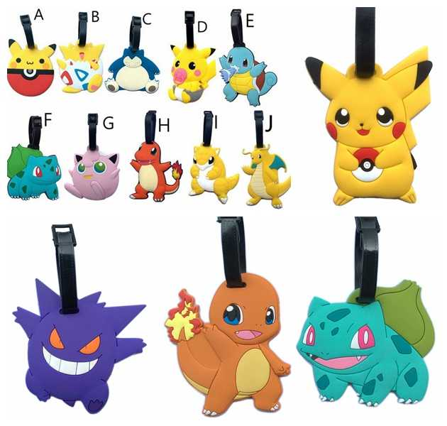 Luggage Tag Figure Dragonite Snorlax Charizard 14Style Etiqueta Equipaje Bag Pendants Travel Suitcase Tag 1pcs