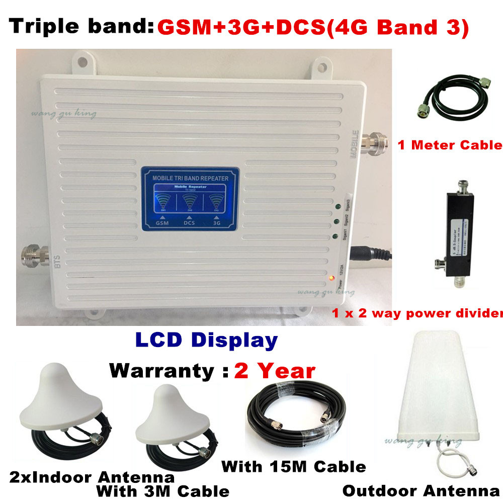For 2 Rooms Tri-Band Signal Booster 2G GSM 900 3G WCDMA 2100 4G LTE 1800 Cell Phone Cellular Repeater 70dB Phone 4G Amplifer Set