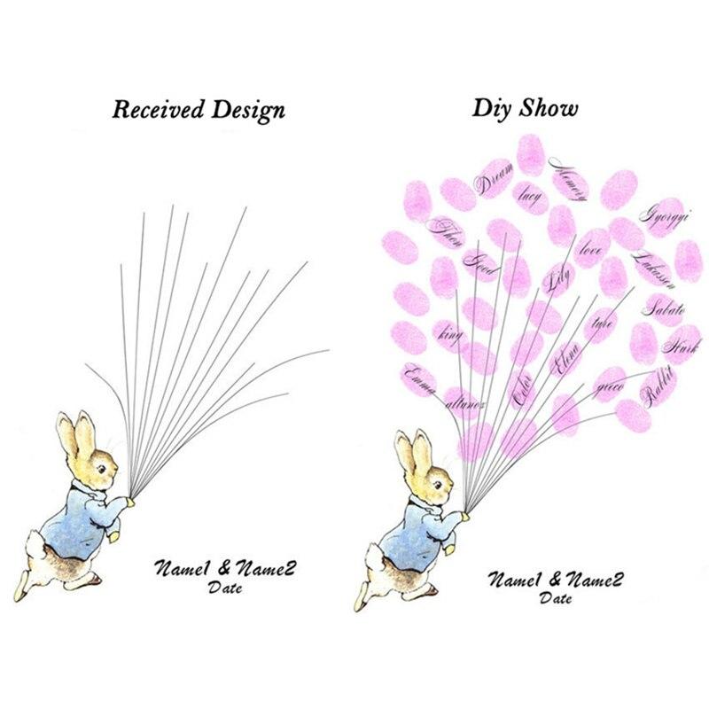 Персонализированные кролик отпечатков пальцев Гостевая книга для душа ребенка День рождения украшения свадебные отпечатков пальцев Подпи... ...