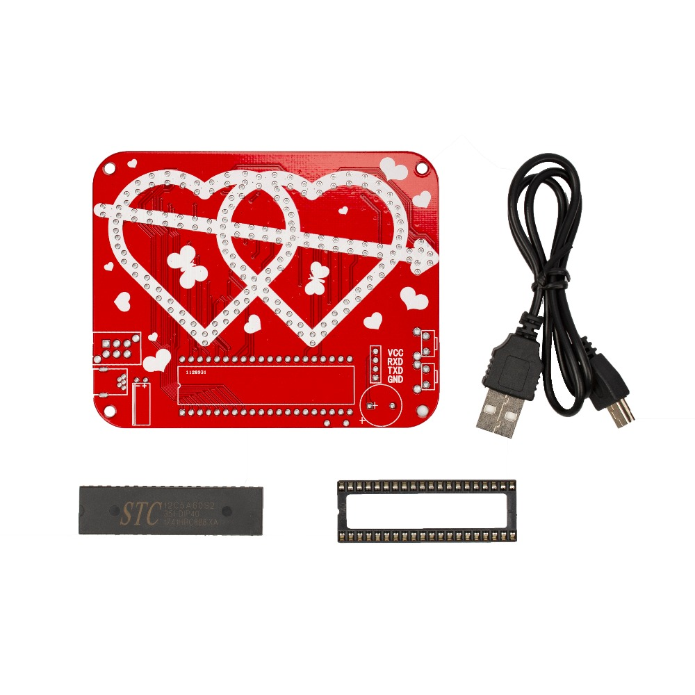Diy Led Electronic Clock Kit Heart Making Learn Circuit Symbol Creative Gifts Dual In Integrated Circuits From