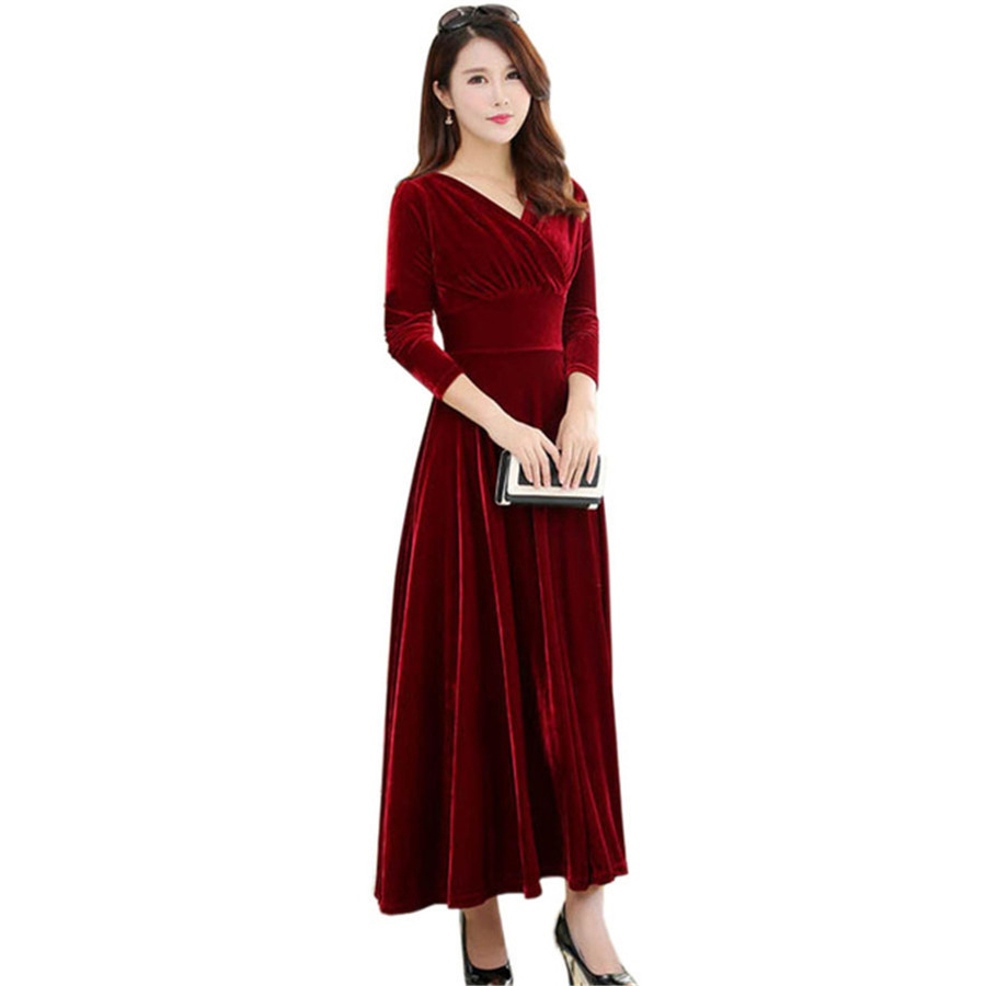 Runway 2017 Winter Velvet Dress Women Long Sleeve Sexy V-Neck Evening Party Dresses Black Blue Green Red Pleated Vestidos