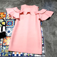 2018 Fashion Black and Pink Two Color Dress Summer Spring Casual Butterfly Sleeve Dresses For Women High Quality