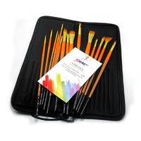 Eval 15pcs Long Handle Artist Nylon Hair Paint Brush Set For Acrylic Watercolor Professional Painting Drawing