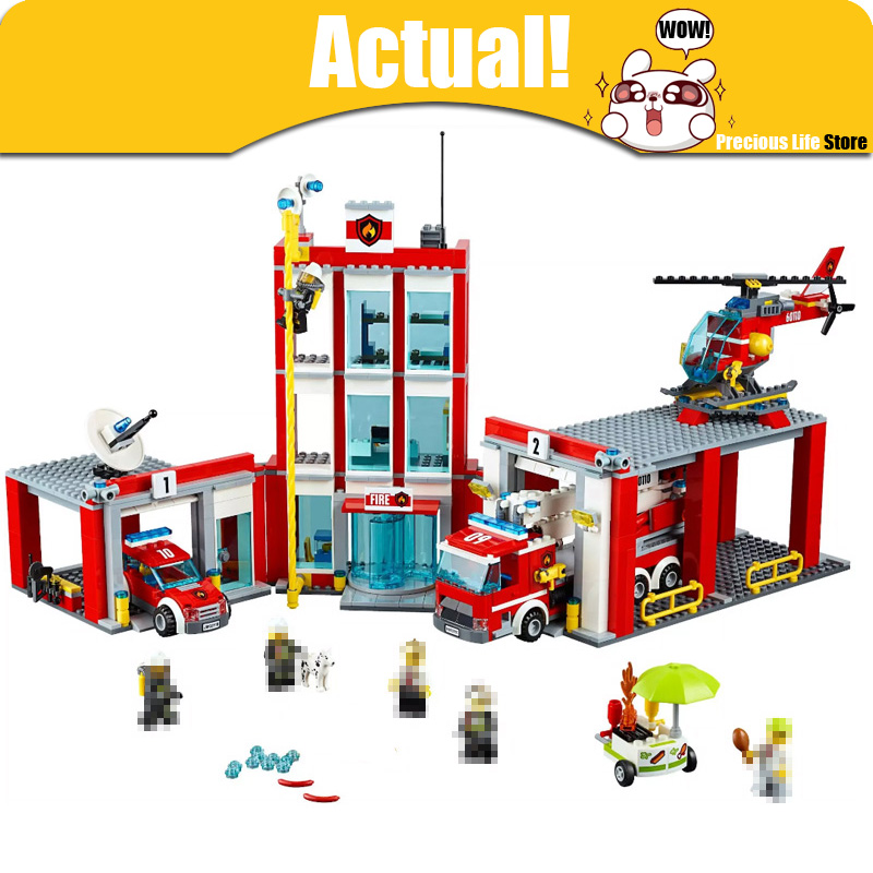 In Stock Lepin 02052 1029Pcs City The Fire Station Set legoingly 60110 Building Blocks Bricks Educational DIY Toys for kids compatible with lego city fire station 774pcs set building blocks diy educational bricks kids toys best kids xmas gifts