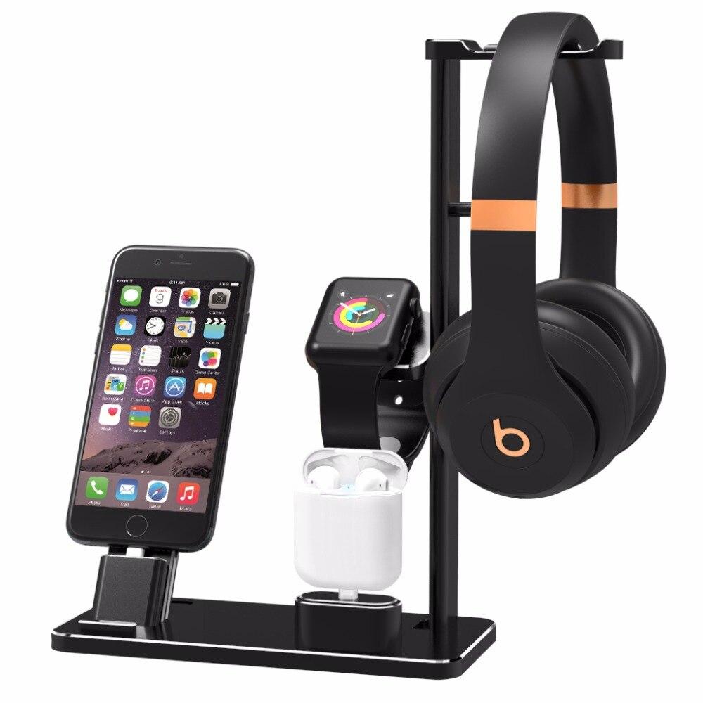 Aluminium Kopfhörer Ständer Halter Ladestation Ladestation Für Apple Uhr Serie 2/1 Iphone 7 7 Plus 6 S 6 Plus X 8