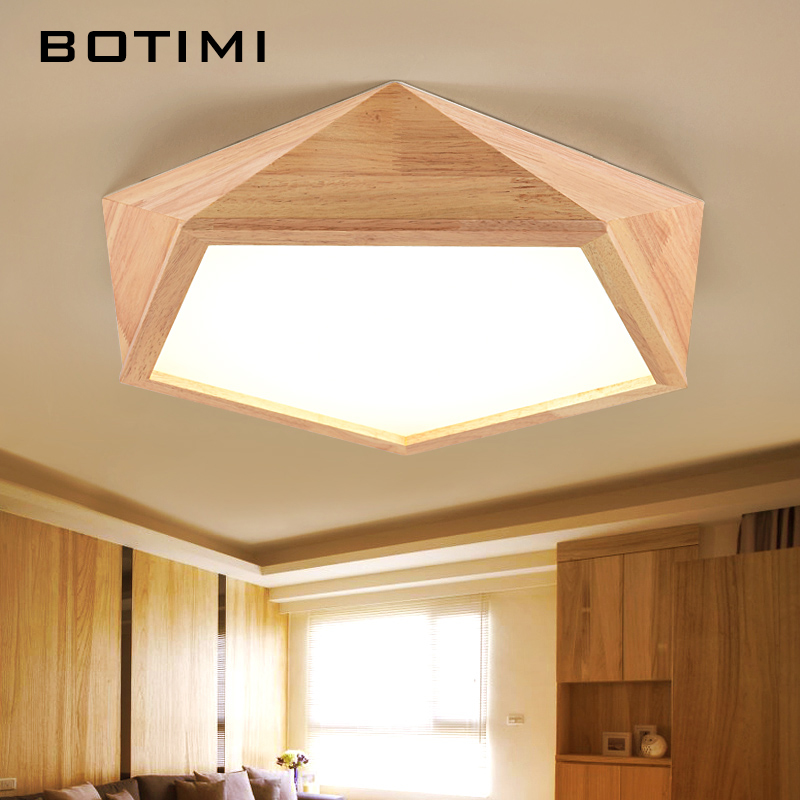 Botimi 2017 New Design Modern Led Ceiling Lights With Square Wood Frame Lamparas De Techo Japanese