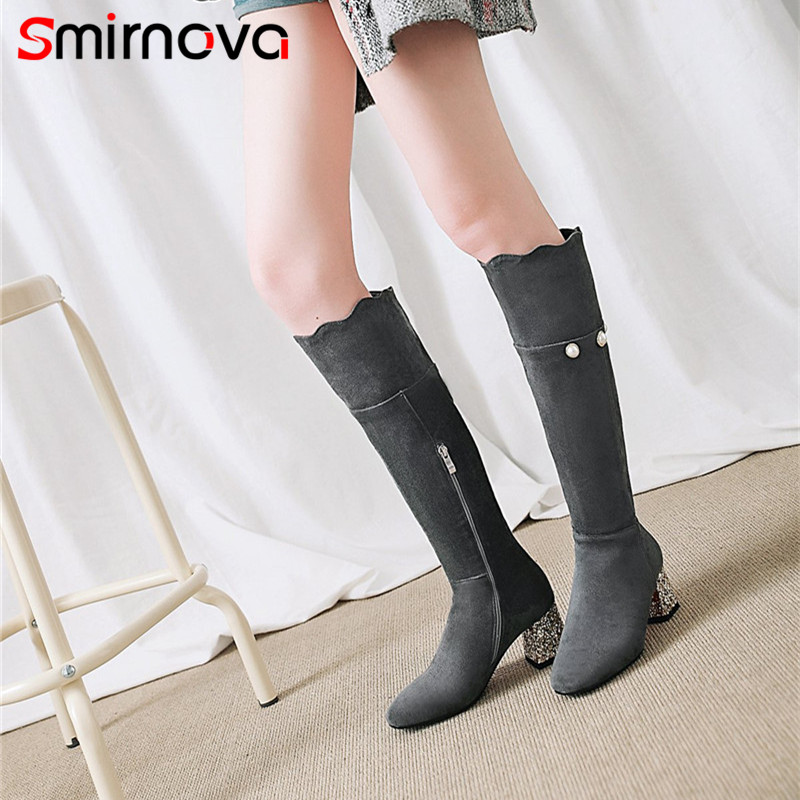 Smirnova Hauts Chaussures Grande Mode Brown Dames Haute Longues Élégant gris Femme Hiver Top Talons 2018 Genou Taille Troupeau À Gris noir Bottes fY6gb7yv