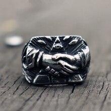 Retro 316L Stainless Steel Ring Mens Eye of Providence Masonic Symbol Handshake Rings Freemasonry Jewelry