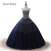 Escuro Azul Marinho vestido de Baile Vestidos de Noite Vestido de Festa Strapless Beading Cristal Longo Vestido de Noite vestidos de 15 anos