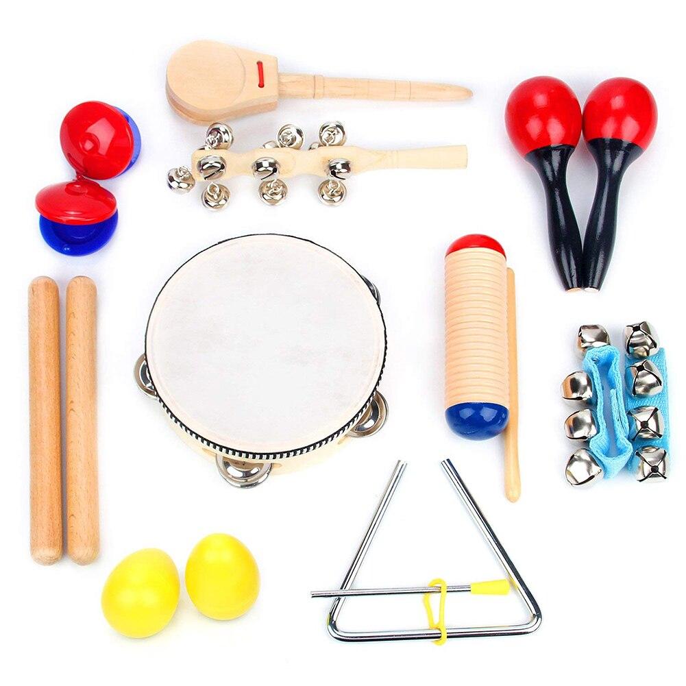16 pièces Instrument de musique jouets pour enfants Percussion ensemble pour les tout-petits en plastique préscolaire apprentissage éducatif jouets musicaux nouveau