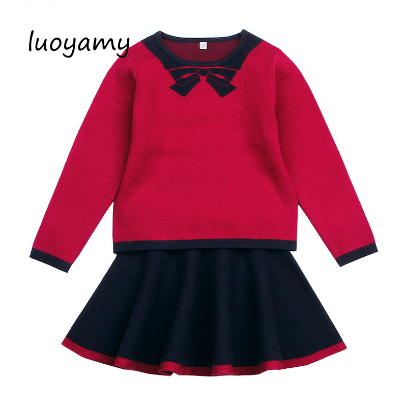 luoyamy Autumn Winter Kids Clothing Sets Litter Girl Sweater Tops and Skirt Set Suits Children Clothes Girls Tracksuits
