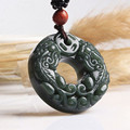 100% Natural Dark Green HETIAN Jade Pendant Round Peace Buckle PIXIU Pendant Necklace Fashion Men's Jade Jewelry