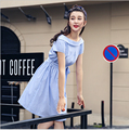 2016 New Summer Women Plaited One-piece Dress Slim A-line Slash Boat Neck Cotton Dress With Belt Plus Size M-XL