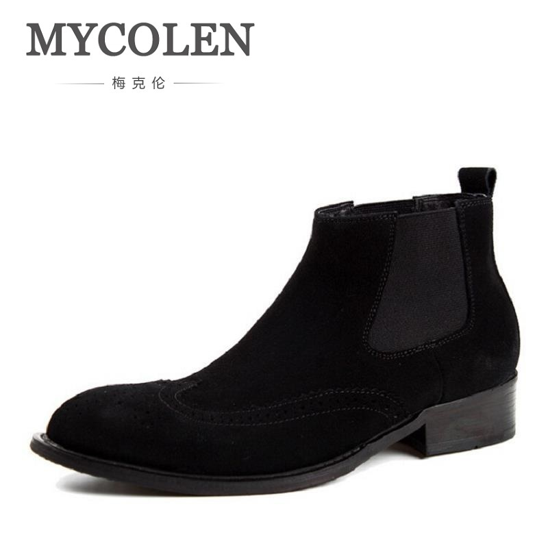 MYCOLEN Winter Boots Bullock Carved Men Shoes 2018 Top Fashion New Casual Leather Ankle Boots Trend Zipper Men Shoes botte homme