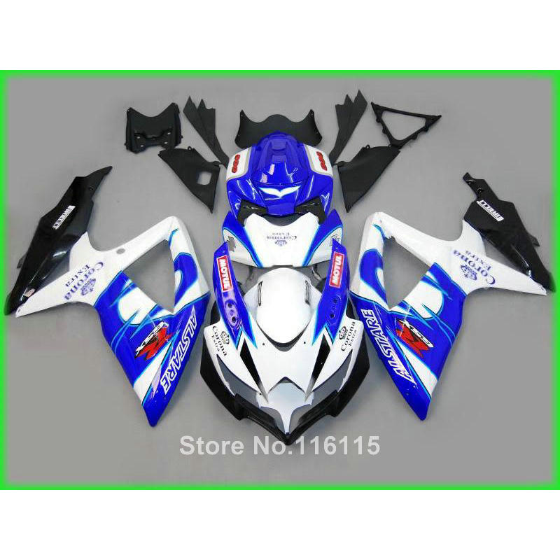 Perfect fit for SUZUKI K8 K9 GSXR 600 750 2008 2009 2010 white blue Corona fairing kit GSXR600 GSXR750 08 09 10 fairings set XF7 for suzuki 2004 2005 white black blue gsxr 600 750 fairing kit k4 gsxr600 qtv 04 05 gsxr750 fairings kits motorcycle 894