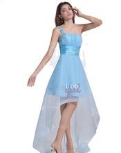 Mädchen graduation dresses Schulter Transparenten Boden Lange Zurück Kurze Vordere Prom Kleider Mit Perlen Benutzerdefinierte Größe