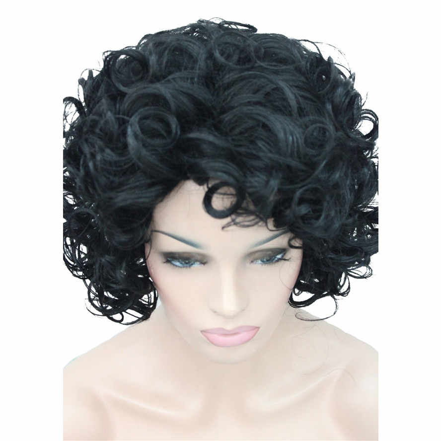 Strongbeauty Wig For Black Women Natural Short Curly Hairstyles For Medium Hair Black Synthetic Curly Ombre Full Wigs