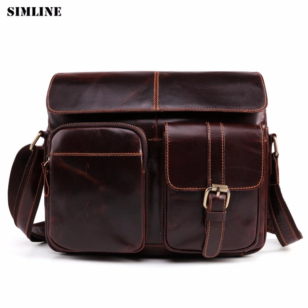 купить SIMLINE Genuine Leather Messenger Bag Men Men's Real Cowhide Vintage Casual Small Shoulder Crossbody Bags Handbag For Man Male по цене 4073.05 рублей