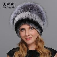 Women Warm Genuine Fur Hats Natural Rex Rabbit Fur Fox Skin Top Mushroom Shape Caps 2017 Winter New Female Casual Beanies
