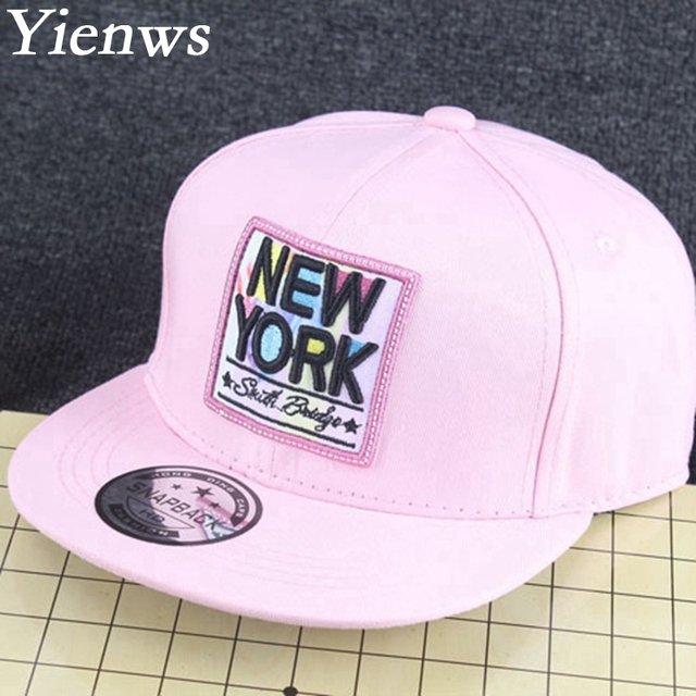 Yienws Girl Summer Baseball Cap Kids Snapback Caps For Girl New York Brand  Black Pink Straight Hat Solar Panels YH101 ba89e45724f