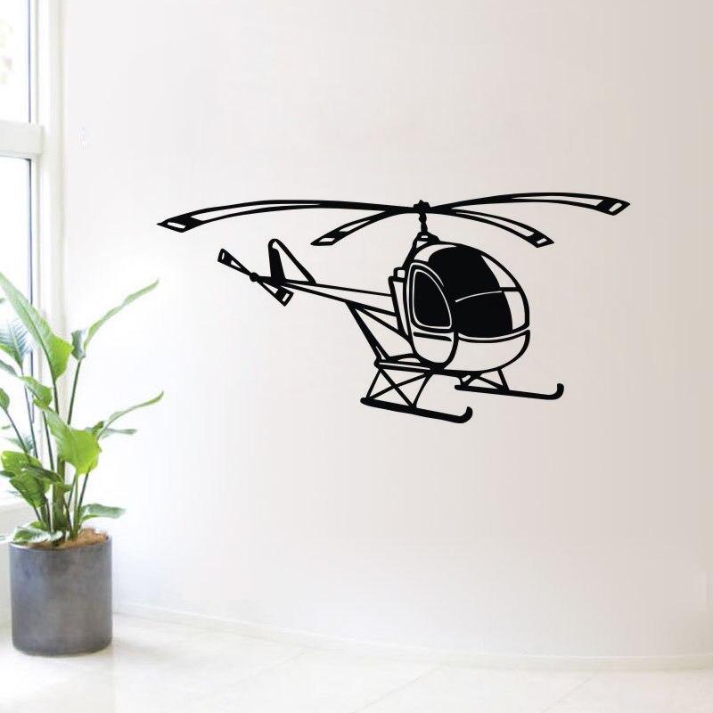 Детская комната Настенный декор вертолет Наклейки на стену съемный выдалбливают транспорт стены виниловые наклейки