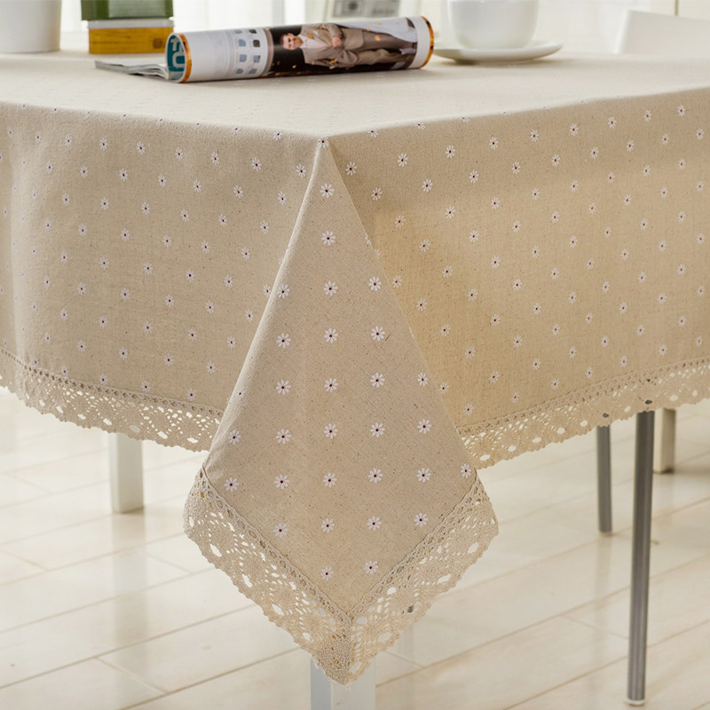 Flower Pattern Tablecloth Linen Cotton Table Cloth With Lace Dining Table Cover HG99