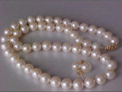 GORGEOUS 9-10MM AKOYA WHITE NATURAL PEARL NECKLACE EARRING SET