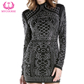 MYCOURSE Fashion Sexy Geometric Pattern Rhinestone Turtleneck Long Sleeve Bodycon Tight Dress Party Silm Package Hip Mini Dress