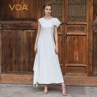VOA 2017 Summer New Arrival Off White Heavy Silk Wedding Bridesmaids Dress Solid Brief Luxury Slim Plus Size Maxi Dress ALX06801