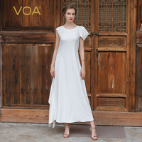 VOA 2017 Summer New Arrival Off White Heavy Silk Irregular Wedding Dress Solid Brief Luxury Slim