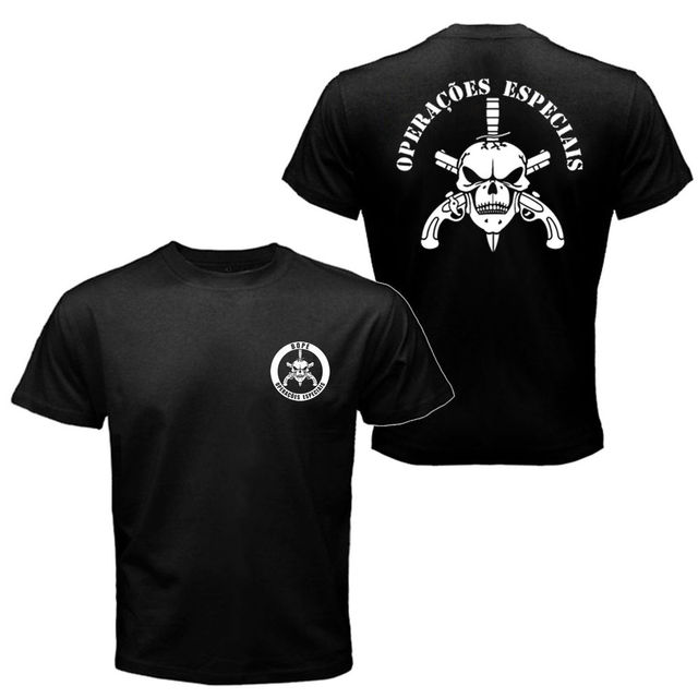 bd188a2231666 Bope tropa De Elite Brasileira Polícia Especial camisa de t homens  imprimiram a camisa t padrão