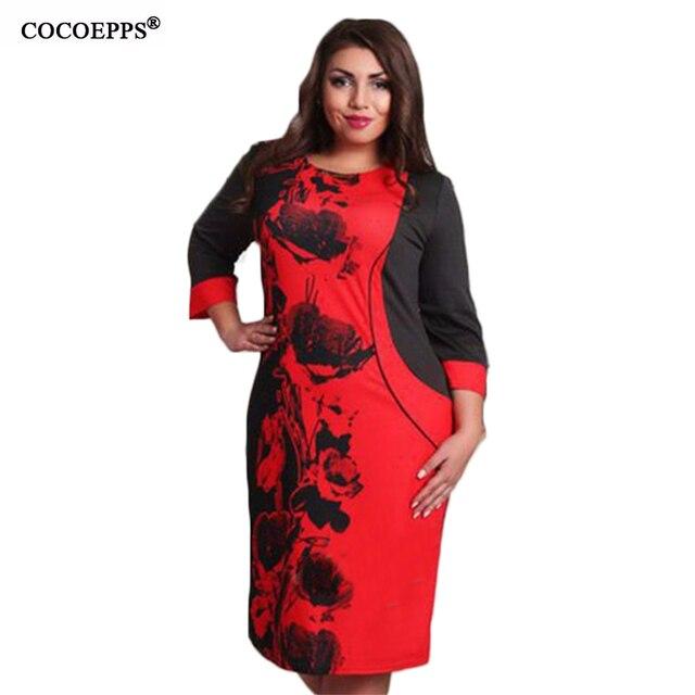 2017 Casual Women Plus Size Dress A line Patchwork Big size Dress ...