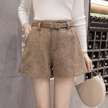 Korean Autumn Winter All-match Women Wool Shorts Fashion High Waist Wide Leg Woolen Shorts Female Casual Bootcut With Belt Шорты