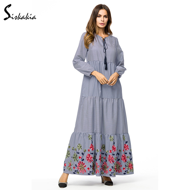 7fbd1da7d5ef5 Siskakia Plaid long dress Ankle-Length Floral Embroidery maxi dresses Tall  women plus size long sleeve dress Grey Autumn 2018