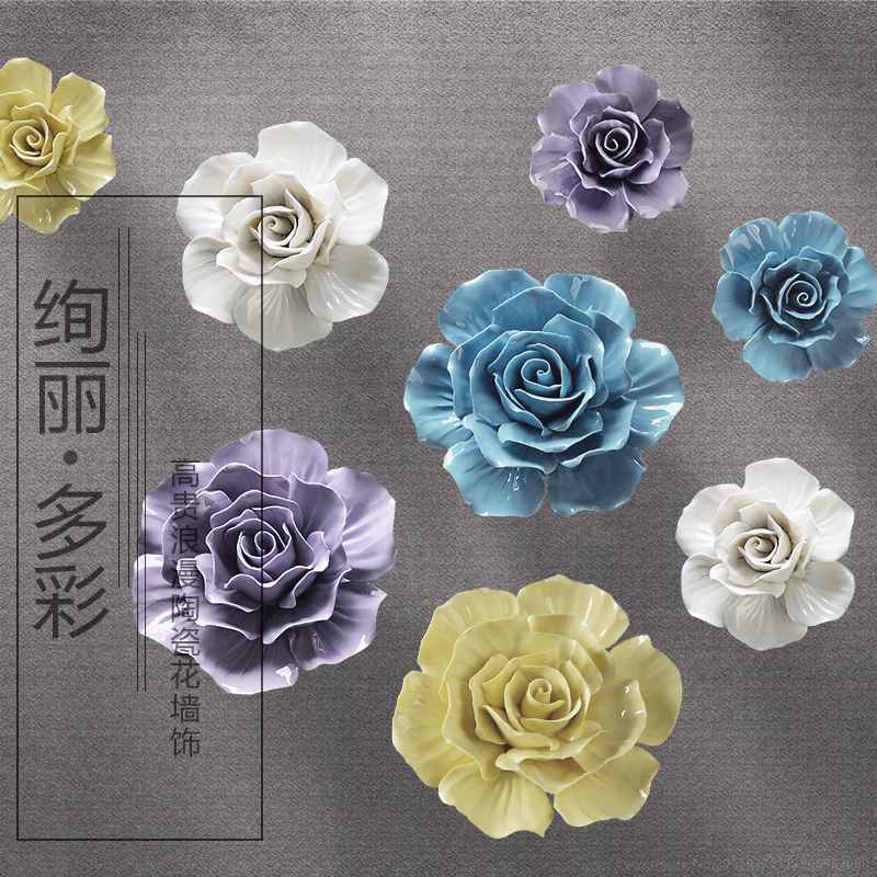 Porcelin Flower Wall Accent: Big Ceramic Roses Decorative Wall Flower Dishes Porcelain