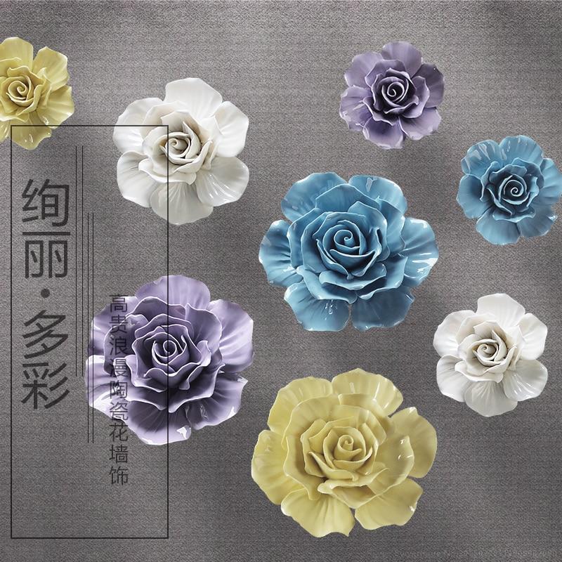 Ceramic Wall Flower Decor: Big Ceramic Roses Decorative Wall Flower Dishes Porcelain