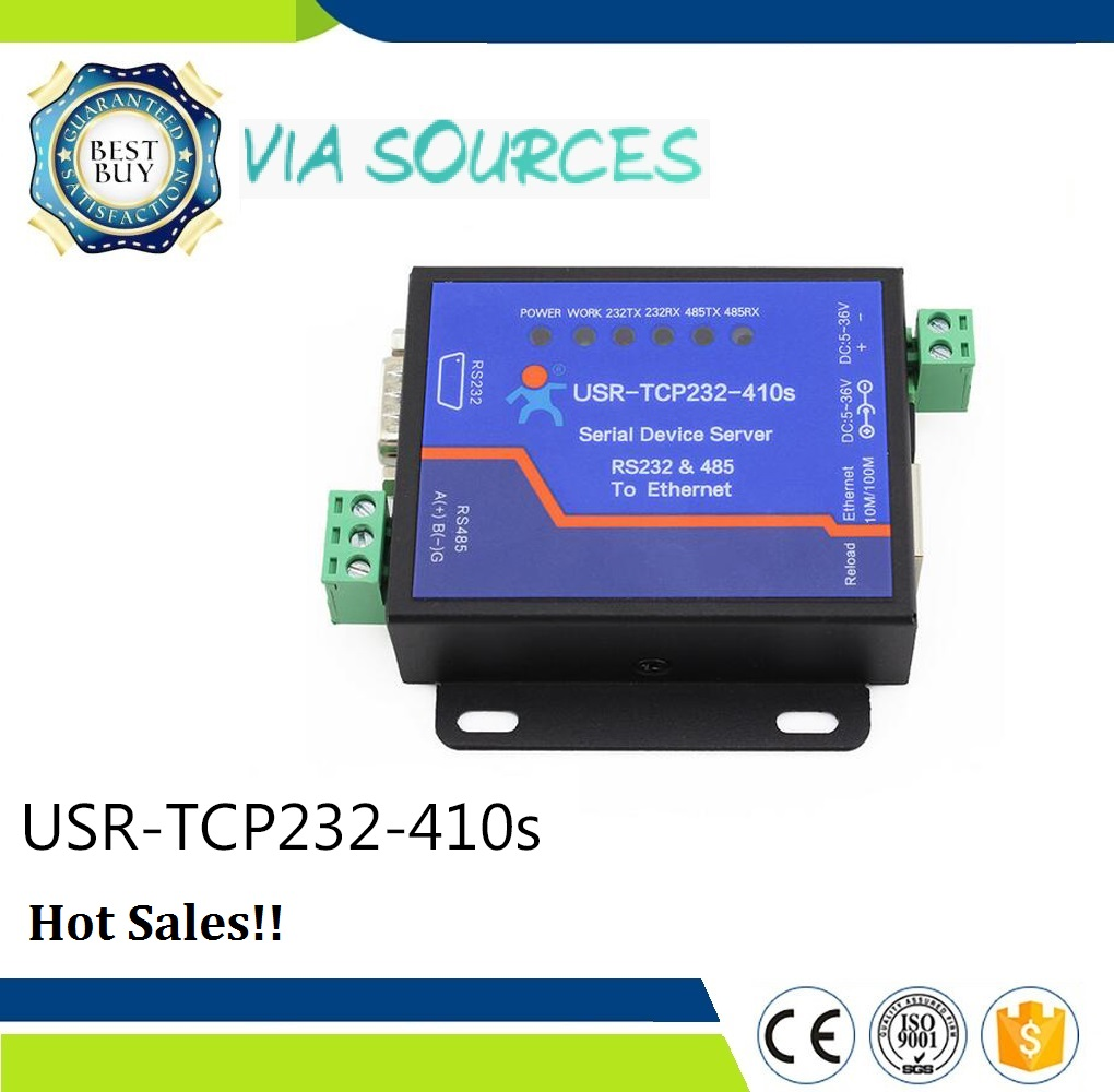 USR-TCP232-410S RS232 RS485 Port Serial To Ethernet Converter With ModBus RTU To ModBus TCP And CE FCC RoHS usr tcp232 e 2 serial port rs232 rs485 to ethernet module uart ttl to lan network converter support modbus rtu to modbus tcpq005