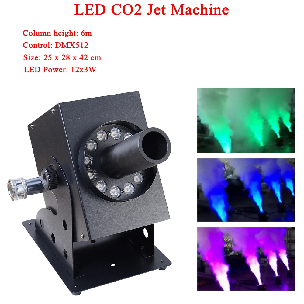 NEW Stage Disco Dj Equipment LED 12 X 3W RGB 3IN1 Led Lamp Co2 Jet Machine Column Height 6 M For Party Bar Stage Performance