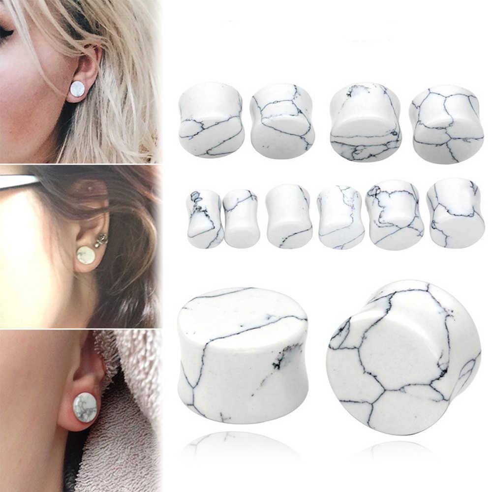 1PCหินหูปลั๊กเครื่องวัดต่างหูผู้หญิงหูเสียบปลั๊กเนื้ออุโมงค์เจาะExpander Body Piercingเครื่องประดับ