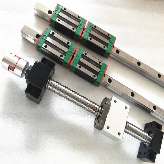 linear guideway set ( Made in China) branded 2 pc 20mm rail L= 700/600/400mm+3ball screw SFU1605 with nut machined +3BKBF12